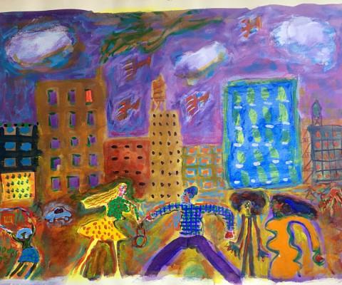 Untitled, year unknown, acrylic, 18 x 24, $450
