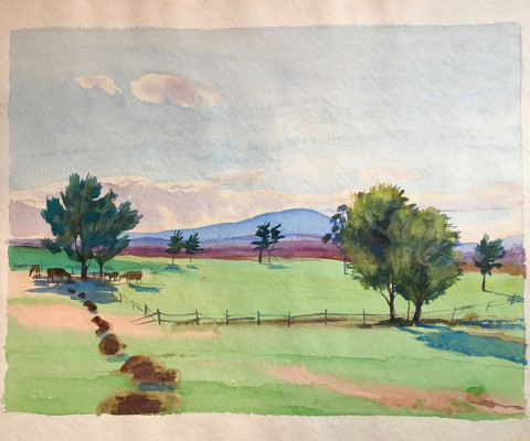 Untitled, 1955, watercolor, 12 x 16, $300
