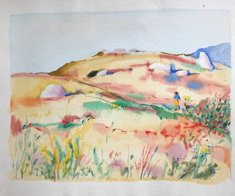 Untitled, 1956, watercolor, 15 x 18, $250