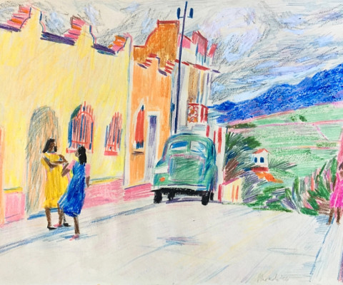 Untitled, Mexico 6, 1956, pastel on paper, unframed