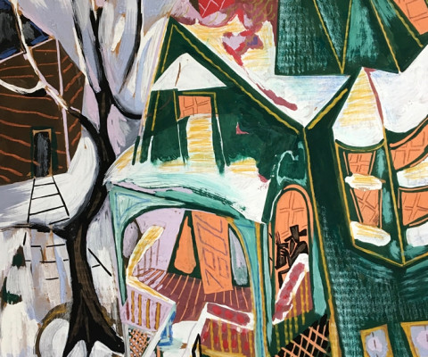 Chicago in Winter, 1957, gouache on paper, $200