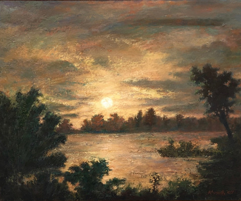 Moon Over the Inlet, 2007, oil, 16 x 20, $220