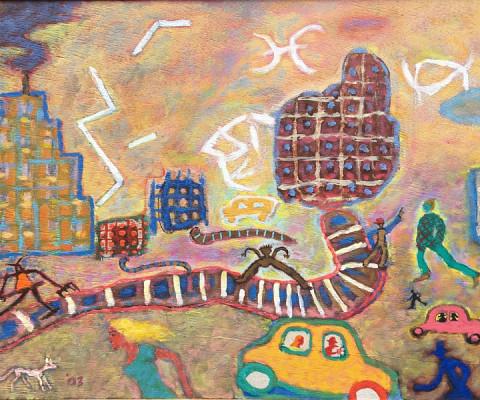 Runes in the Sky, 2003, oil, 14 x 22, $900
