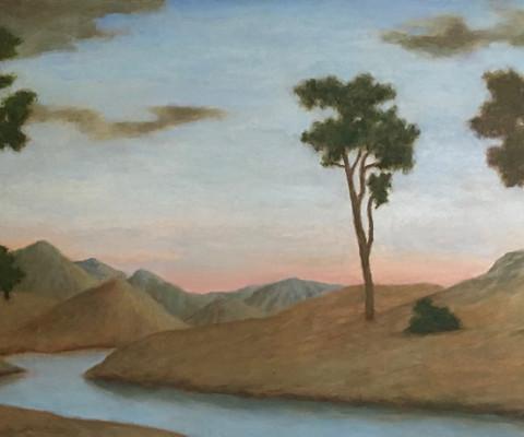Sunrise Over the Creek, 2012, acrylic, 10 x 20, $75