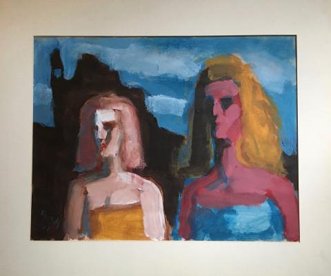 Two Female Figures, 1976, acrylic, 20 x 24, $180