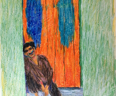 Untitled, Mexico 1, 1956, pastel on paper, unframed, $250