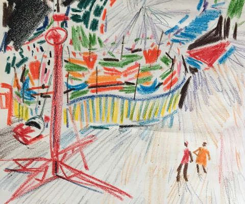 Untitled, Mexico 4, 1956, pastel on paper, unframed, $250