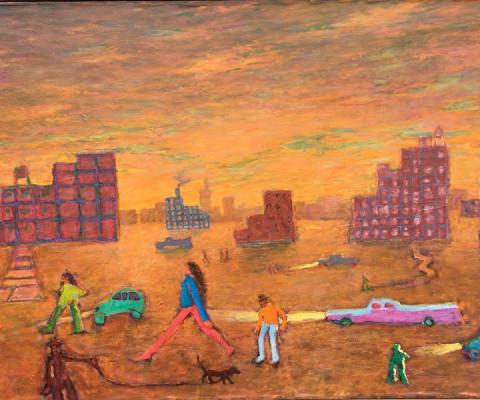 Urban Sunset, 1995, acrylic & oil, 28 x 44, $2,000